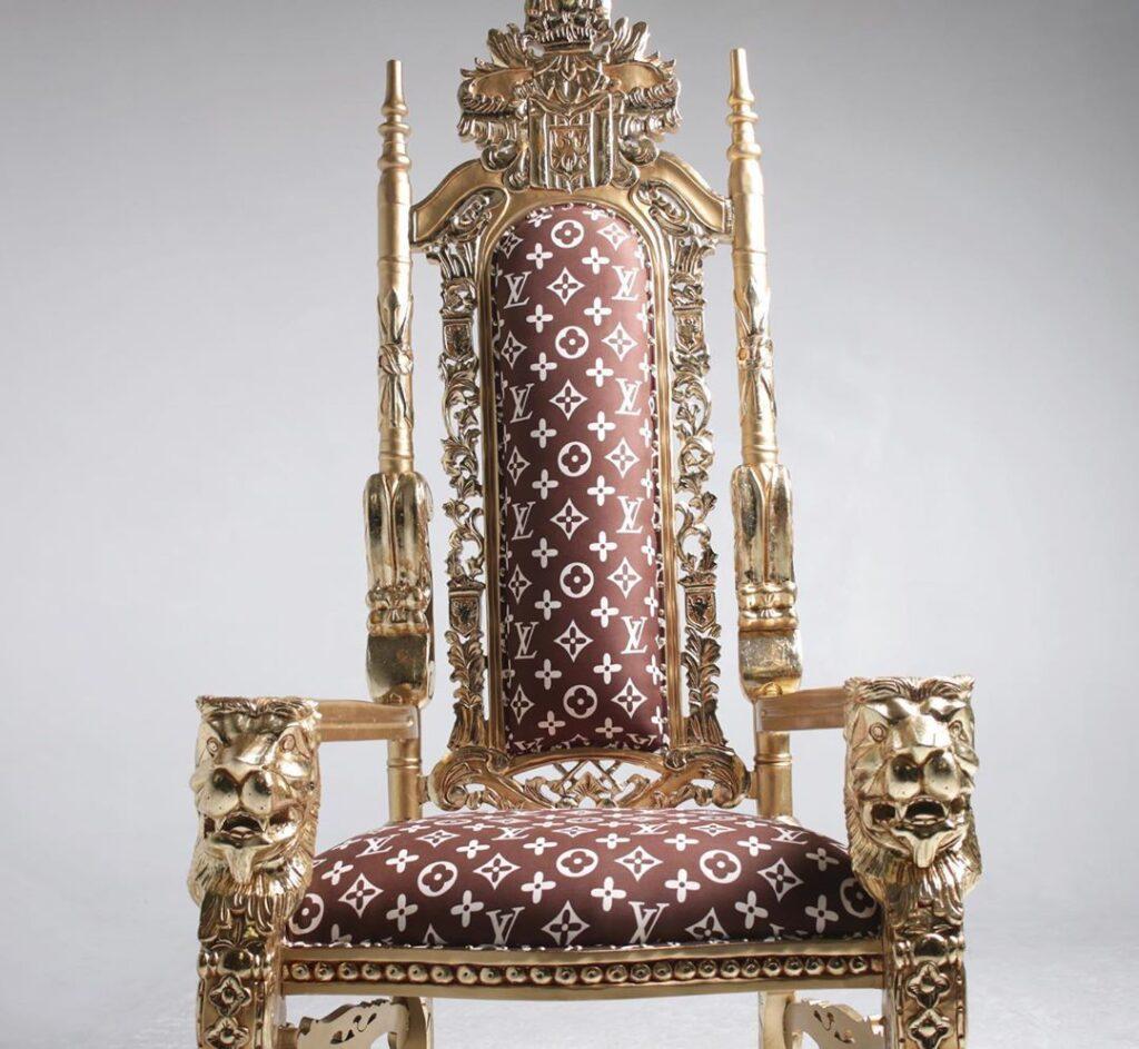 Custom LV throne chair available for photo shoot rental